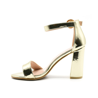 Guangzhou Asian Ladies Sex Patent Leather PU High Quality Chunky Heel Silver Buckle Strap Sandals OEM Women Thick Heel Sandals