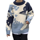 Simple Winter Warm Sweater Blue Sky And White Clouds Contrast Color Long Sleeve Sweater