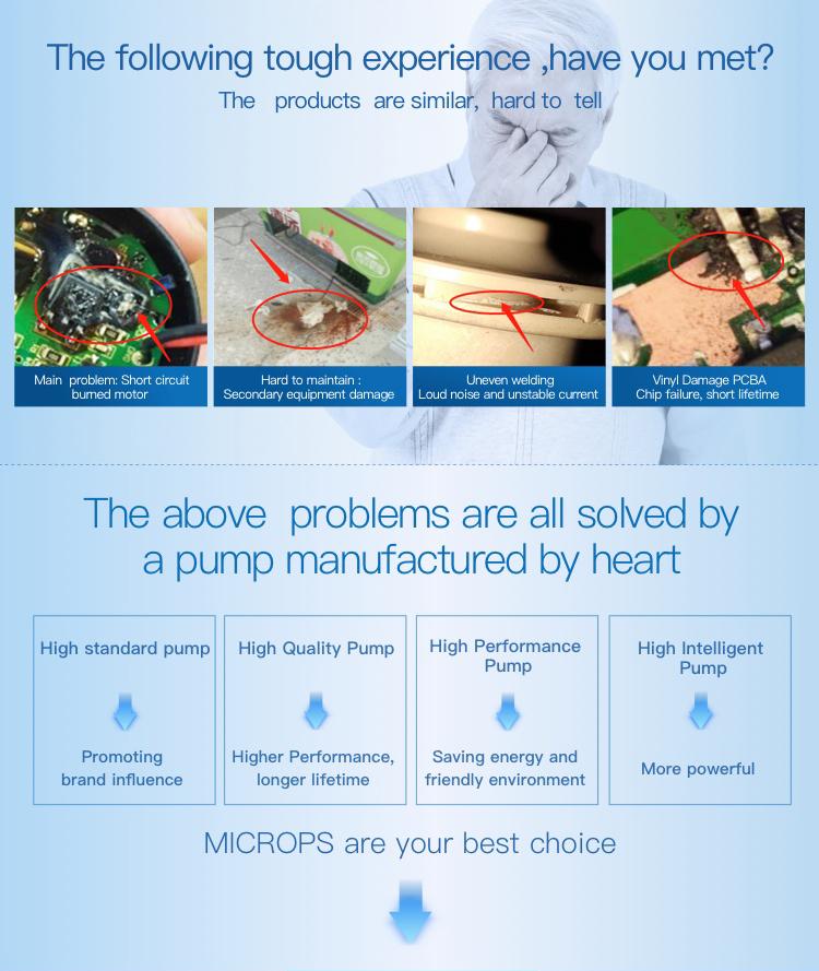 Microps sessiz yüksek basınçlı yüksek sıcaklık bakım ücretsiz 12V 24V mini sıcak su dc sirkülasyon enerjili su güneş pompa