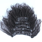 Hot Selling Good Feedback Mongolian Kinky Curly Clip in Hair Extensions Double Drawn Clip on Hair Extensions For White