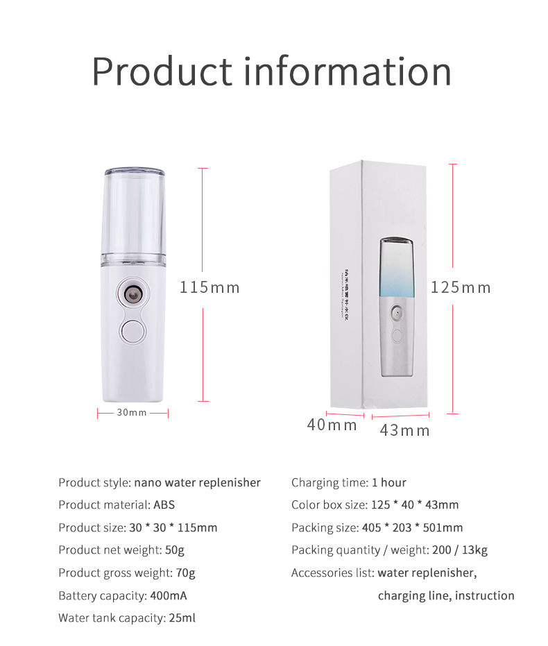 New fashion men and women handy mist spray usb portable beauty advanced nano technology water face toner moisturizing