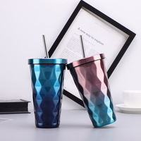 Double Wall Vacuum Insulation Stainless Steel Hydro Thermos Cup Diamond Colorful Travel Mug