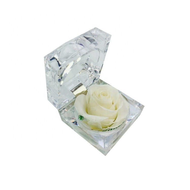 Preserved <strong>Rose</strong> <strong>Head</strong> Size 2-3cm In Transparent Acrylic Box For Valentine's Day Gift