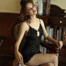 Женская ночная сорочка, пижамы, сексуальная пижама, женские ночные сорочки, кружевное соблазнительное красивое платье для сна на завязках(Китай)