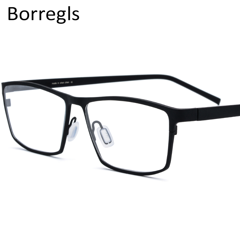Borregls 純チタンメガネフレーム男性処方男性スクエア眼鏡近視光学フレーム眼鏡 1871