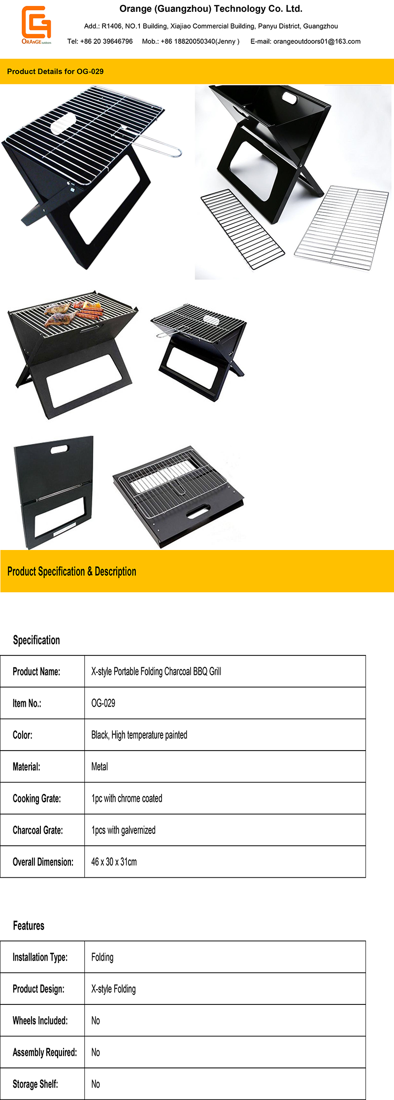 X-style Portable Folding BBQ Grill Notebook Grills