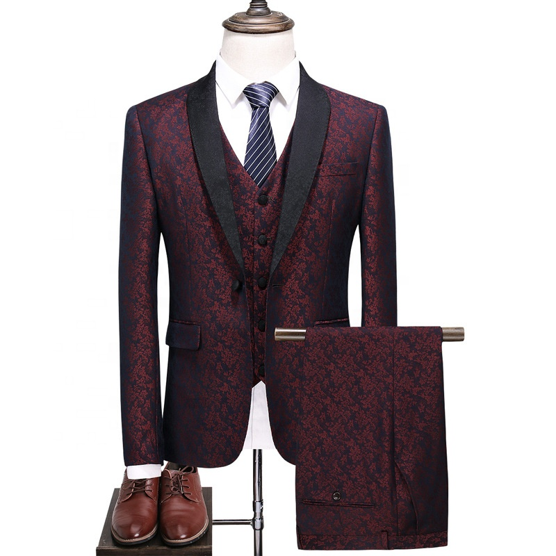 2019 Printed High Quality Wine Red Men <strong>Suits</strong> Business <strong>Formal</strong> <strong>Suits</strong>