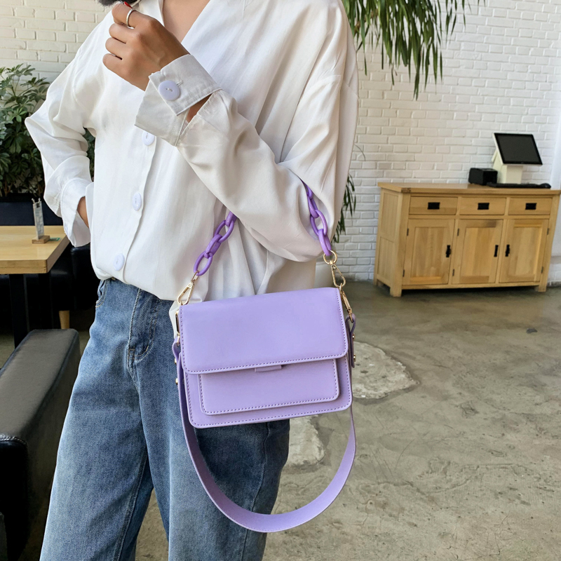 product-Chain Design New Mini PU Leather Flap Bags for Women 2020 Summer Girls Shoulder Handbag Fema