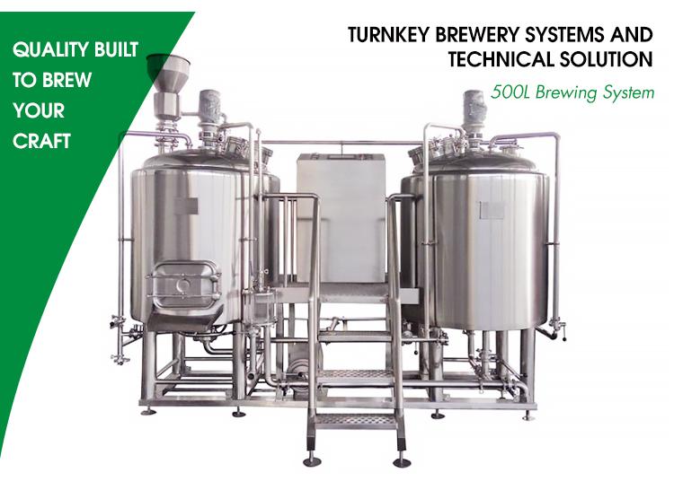 500L SUS 304 किण्वन शिल्प बियर पक मशीन और के लिए टैंक