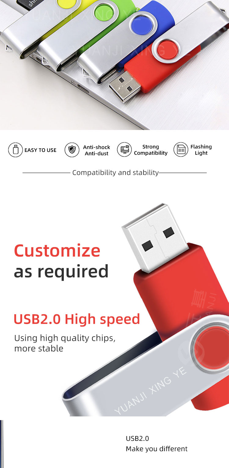 Logotipo personalizado USB 2.0 GB GB 32 16 8GB 64GB 128GB Swivel Flash Drive Caneta
