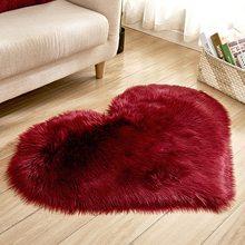 Ковер для спальни, напольный коврик с сердечками из искусственной шерсти, пушистый ковер из искусственного меха, простой Пушистый Коврик дл...(Китай)