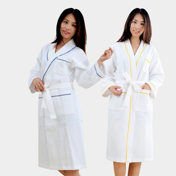 Super Soft Pajamas Solid Color Cotton Nightcloths waffle Bathrobe with Belt