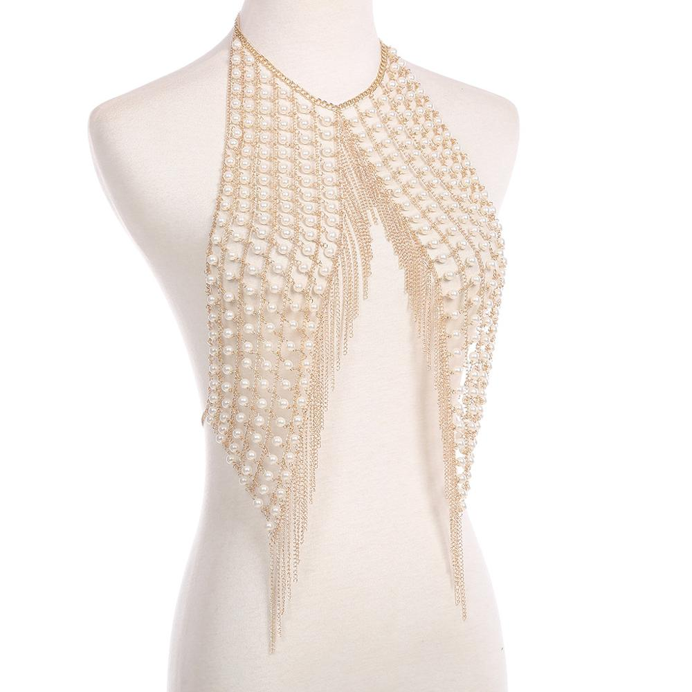 Sexy handmade pearl fringed underwear chest chain gold sexy body clothing chain jewelry chains