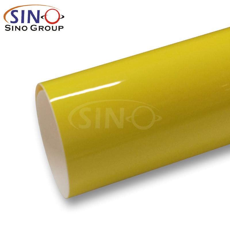 GM-07 Factory Price Wholesale Waterproof Bright Yellow Super Gloss Piano Vehicle Graphics Auto Car Vinyl Wrap