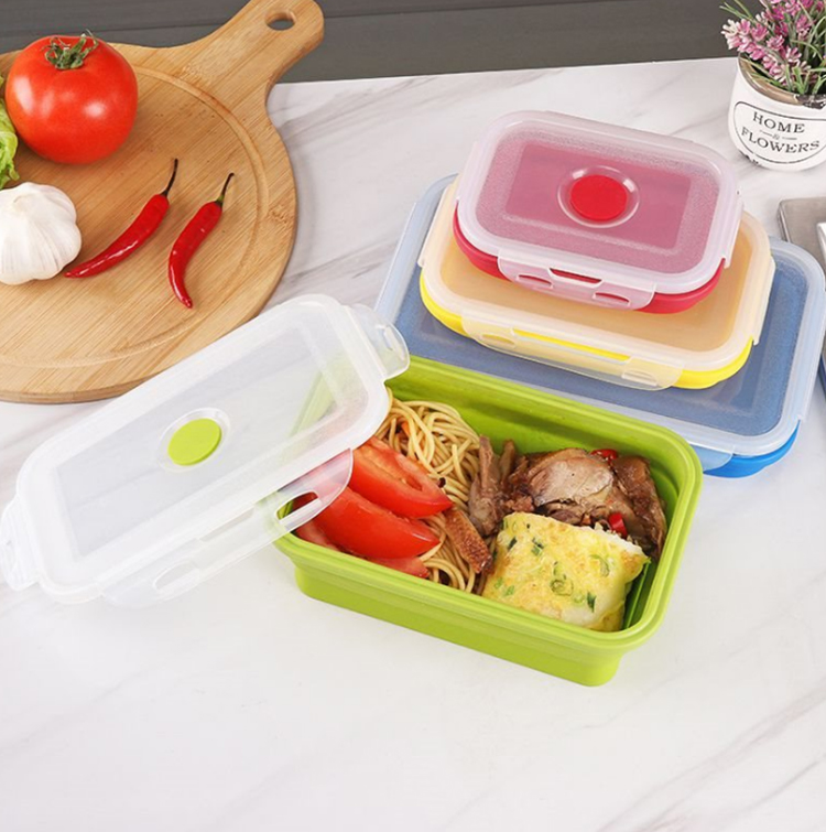Outdoor Lunch Box Meal Container Collapsible Silicone Food Storage Box