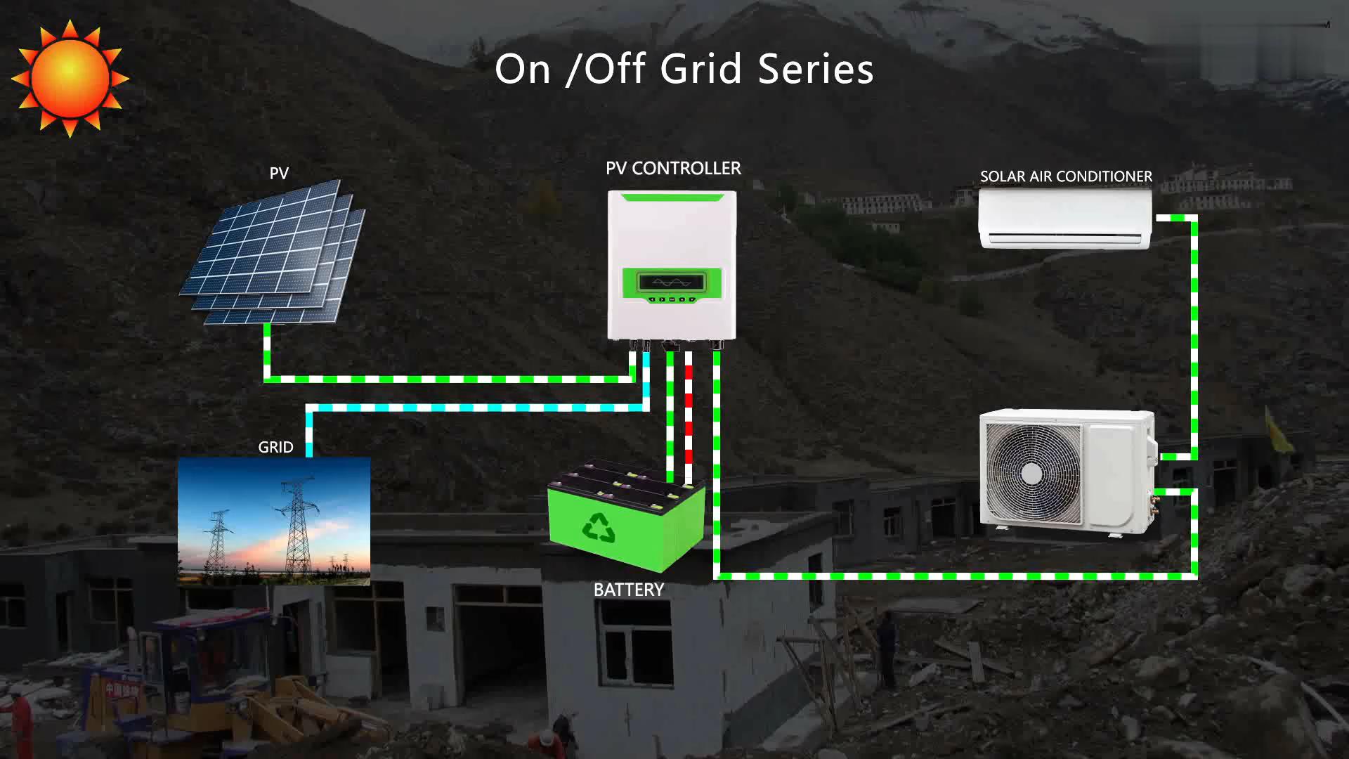 48V DC Инвертор Сплит солнечный воздушный кондиционер 100% солнечного кондиционирования воздуха
