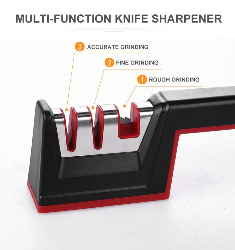 Kitchen gadgets 2020 knife sharpening machine portable 3 stage kitchen knife sharpener