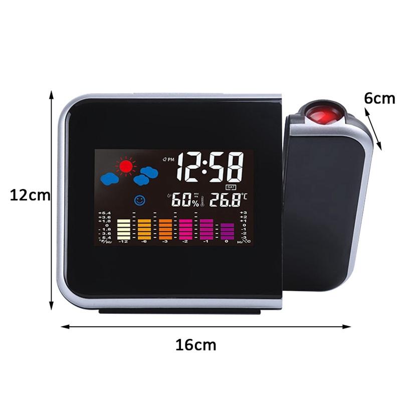 Inteligente pronóstico del tiempo de proyección reloj de alarma temperatura y humedad medidor LCD reloj de proyección