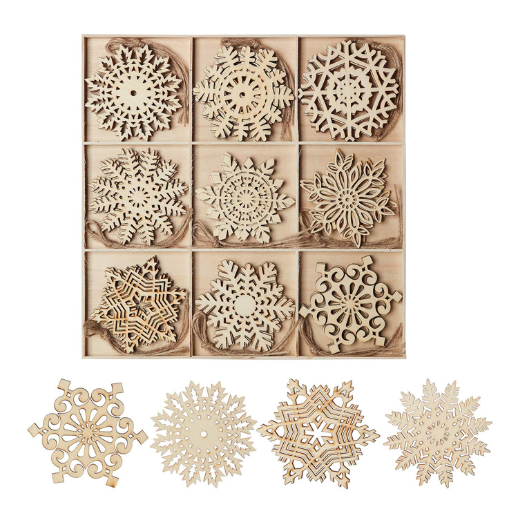 New product ideas 2020 wooden christmas snowflake decoration