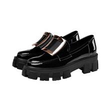 Wetkiss женская обувь из лакированной кожи, на плоской платформе, с нескользящей резиновой подошвой, с пряжкой, 2020(Китай)