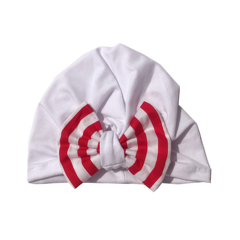 Popular soft cotton babies turban lovely bow chapeau stripe multicolor kids hats