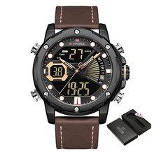 NAVIFORCE Роскошные брендовые часы, мужские кварцевые часы, мужские Модные часы с двойной индикацией даты и светодиодным дисплеем, наручные час...(China)