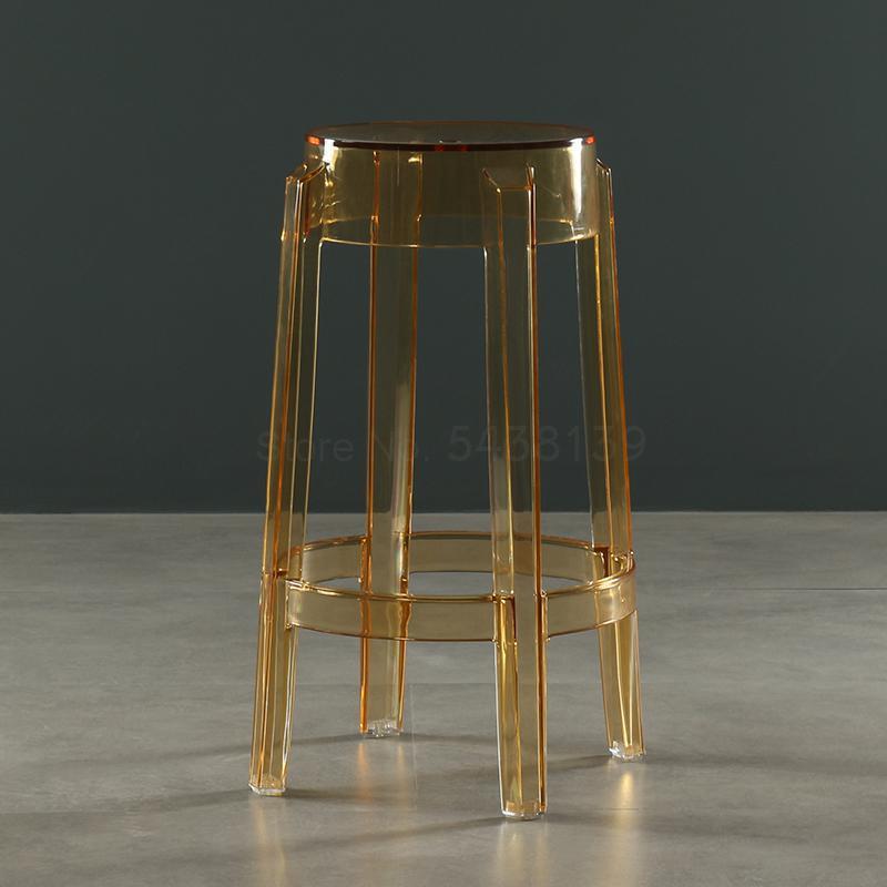 Скандинавский прозрачный акриловый барный стул Хрустальный высокий стул модный круглый стул современный простой пластиковый барный стул(Китай)