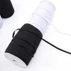 "Hot Sale Size 1/8"" 3/4/5/6/8/10/12mm high elasticity white black flat thin skinny braided elastic roll elastic band webbing"