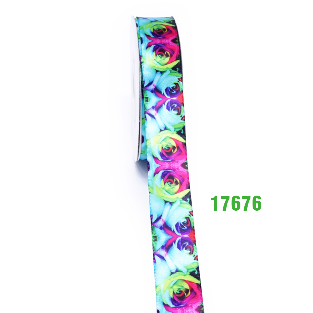 Flower printed sublimated satin ribbon