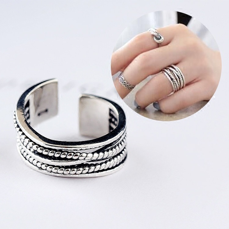 Fashion Design S925 Sterling Silver Chic Geometry Personality Line 8mm Adjustable Ring For Women