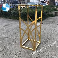 Gorgeous metal square aisle flower stand for wedding stage decoration
