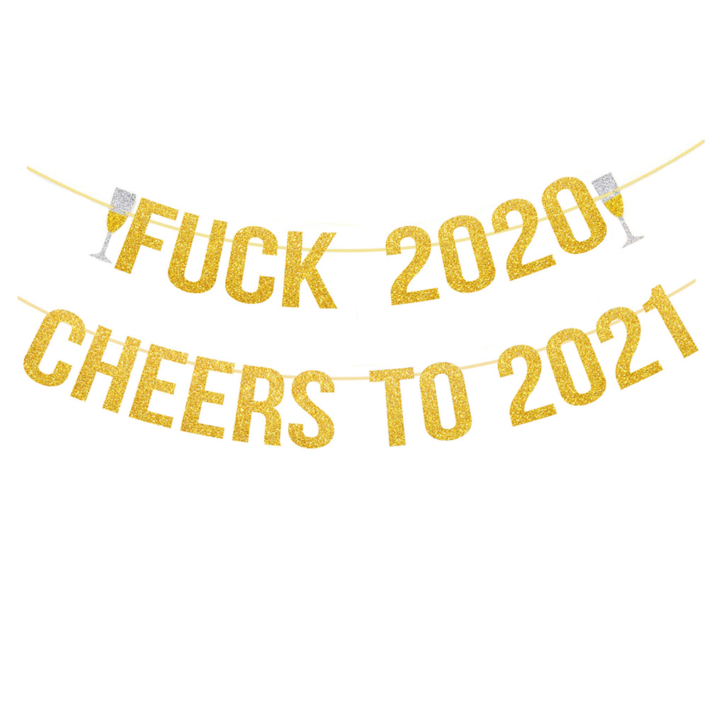Pafu happy new year party supplies gold glitter GOODBYE 2020 cheers to 2021 banner new year party home hanging decorations