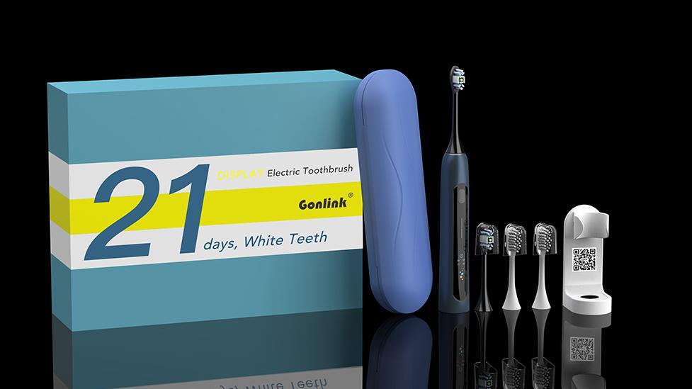 Nova Tela de LCD Conjunto Escova de Dentes Eletrônico Sonoro Modos Multi 4 brushheads À Prova D' Água com Suporte