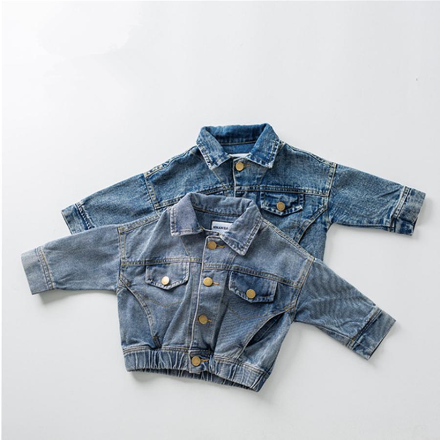 Clásico de la moda de los niños unisex cool-Encuentro de denim azul chaqueta niños