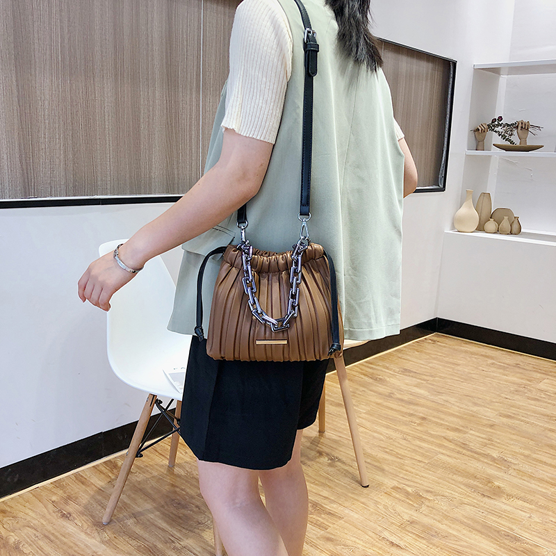 product-Metal Chain Small PU Leather Drawstring Bucket Bag Crossbody Bags For Women 2020 Folds Desig