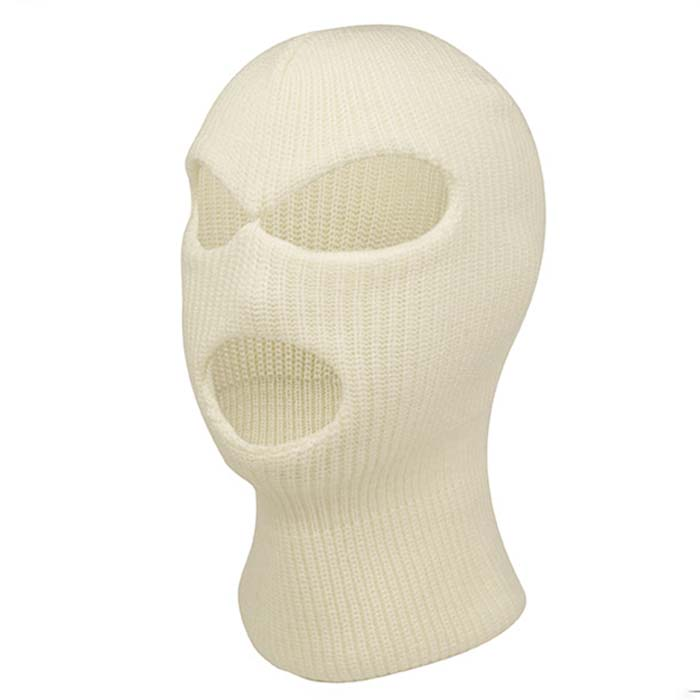 Wholesale Unisex Beige White Racing Balaclava Knitted Pattern Custom 3 Holes Full Face Ski Mask Reflective Balaclava