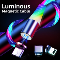 Wholesale new design rainbow light magnetic usb cable 3 in 1 luminous magnetic cable for ios micro type c