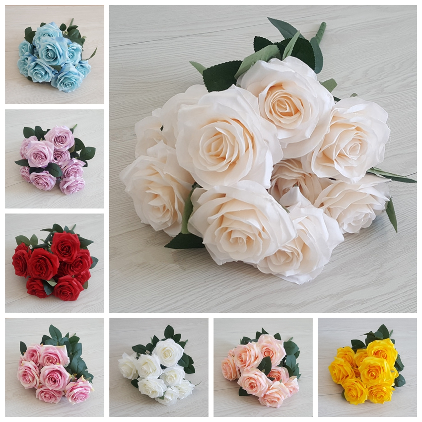 LFR081 10 heads high quality artificial french rose for home wedding decoration