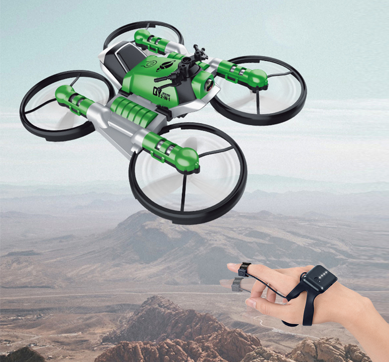 New deformation motorcycle watch rc foldable quadcopter toy gravity sensor drone