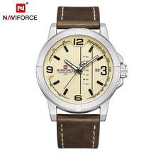 Мужские спортивные часы NAVIFORCE, люксовый бренд, водонепроницаемые кожаные кварцевые часы, военные наручные часы, мужские часы, мужские часы(Китай)