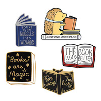 Custom logo book shaped soft enamel Metal lapel pin badge