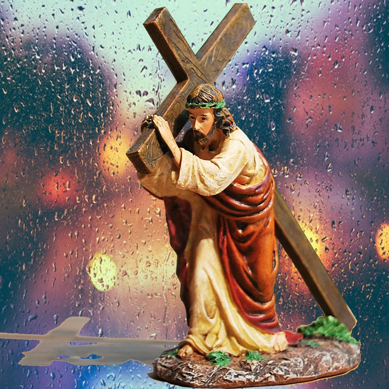 In stock catholic religious items Jesus cross statue resin house decoration