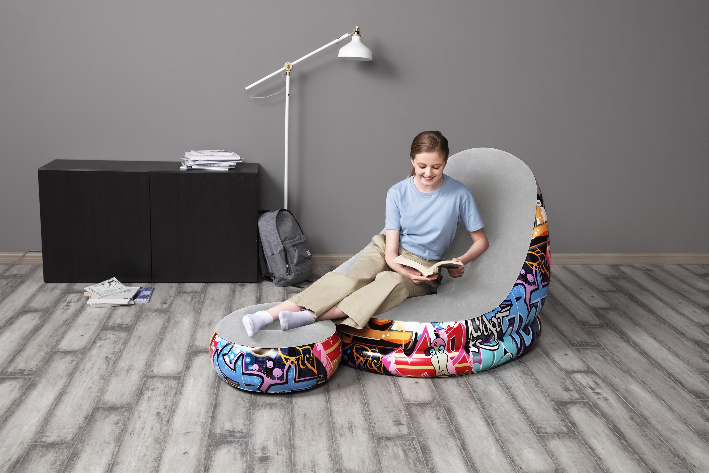 Bestway 75076 Inflatable Furniture Living Room Modern Recliner Sofa 1.12m x 1.00m x 86cm air chair