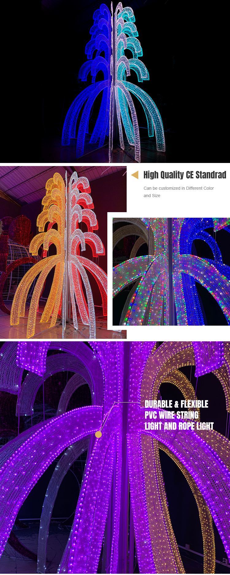 High Quality CE Standard RGBW Color Changeable Christmas Tree 3D LED Motif Light