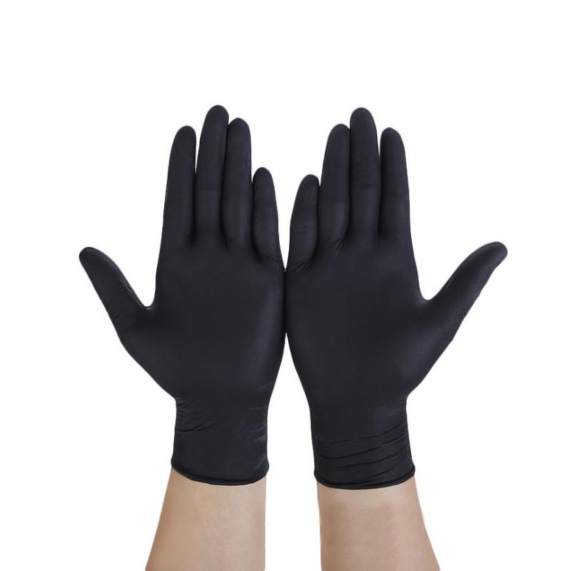 Women's Disposable Black Wear-Resistant Antistatic Nitrile Rubber Gloves