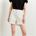 Wholesale ladies shorts natural waist 98% cotton soft high quality women summer shorts