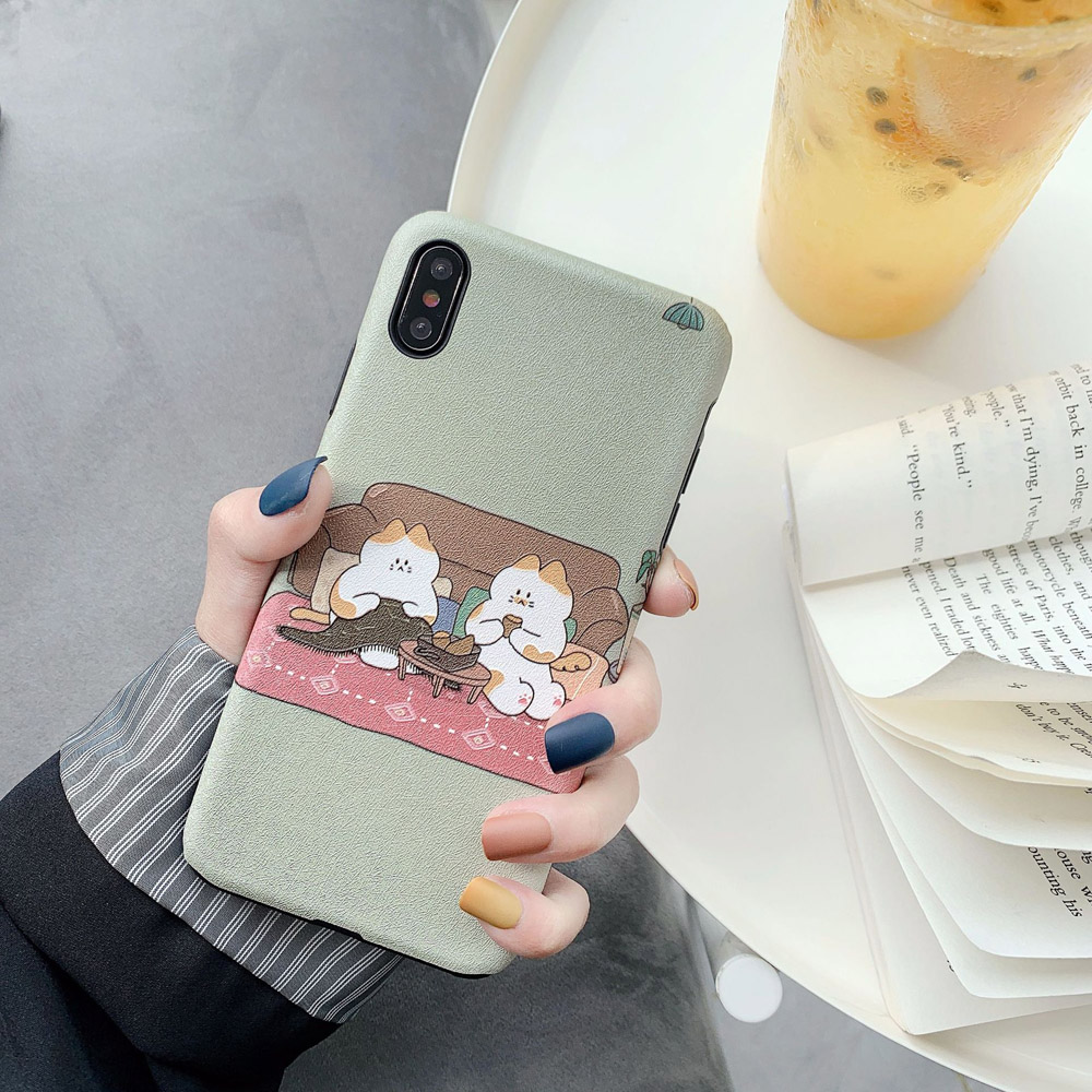 OTAO Nette Cartoon illustration Etui Telefon Fall Für iPhone MAX XR X Xs 8 7 6 Malerei Cartoon Telefoonhoesje Fundas de Celula