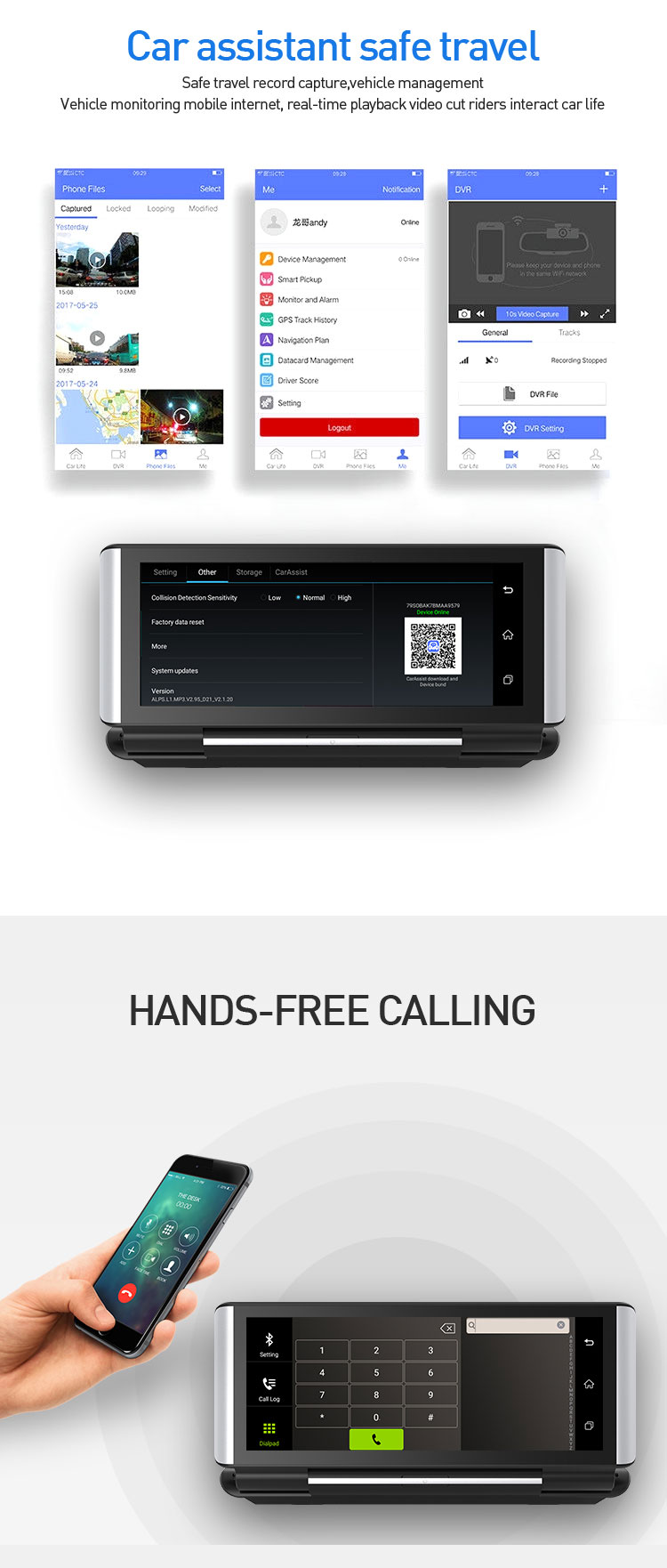 Dash Cam 7'' HD Car DVR Dash Camera Dual Lens With Rear View Camera Video Auto Car DVR Camcorder Auto camera