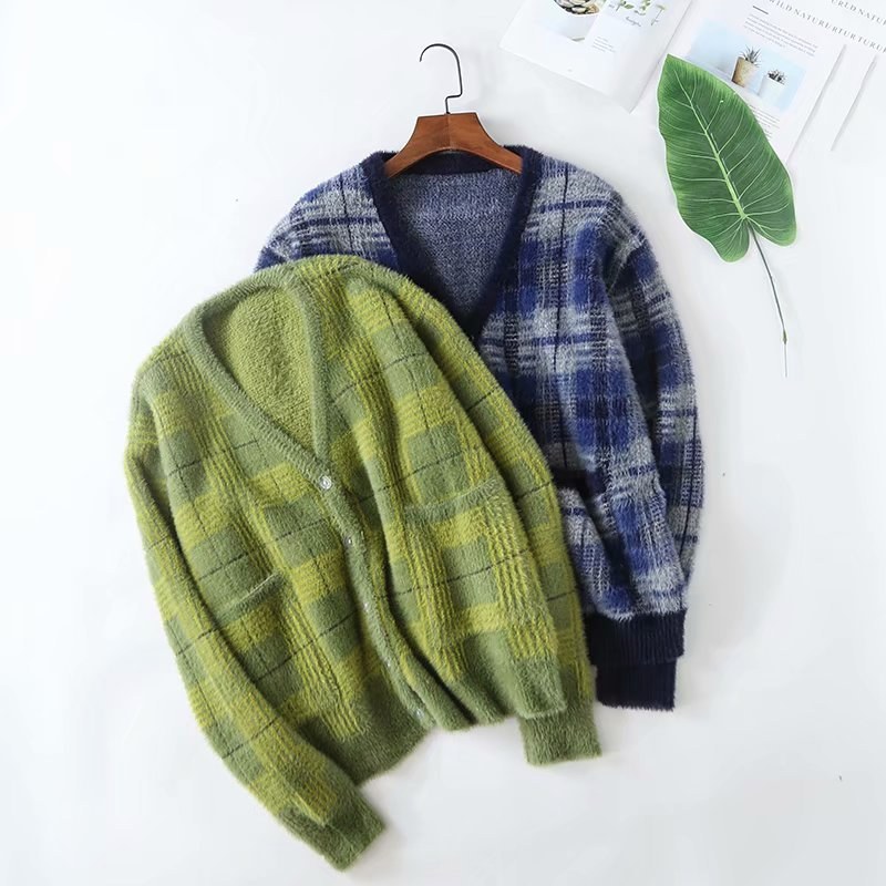 Wasser samt plaid knitting chunky strickjacke frauen pullover mantel