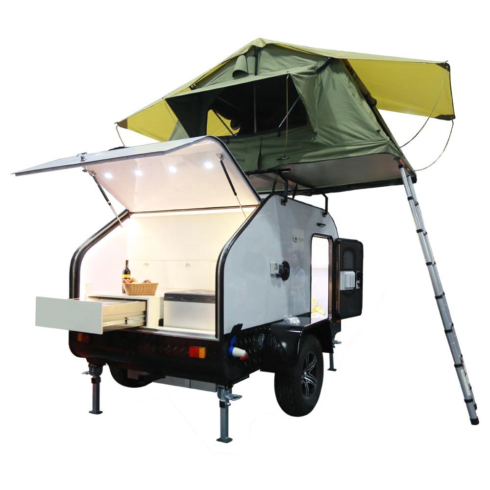 Top Selling Teardrop Caravan Off Road Trailer Mobile Motorhomes with Tent